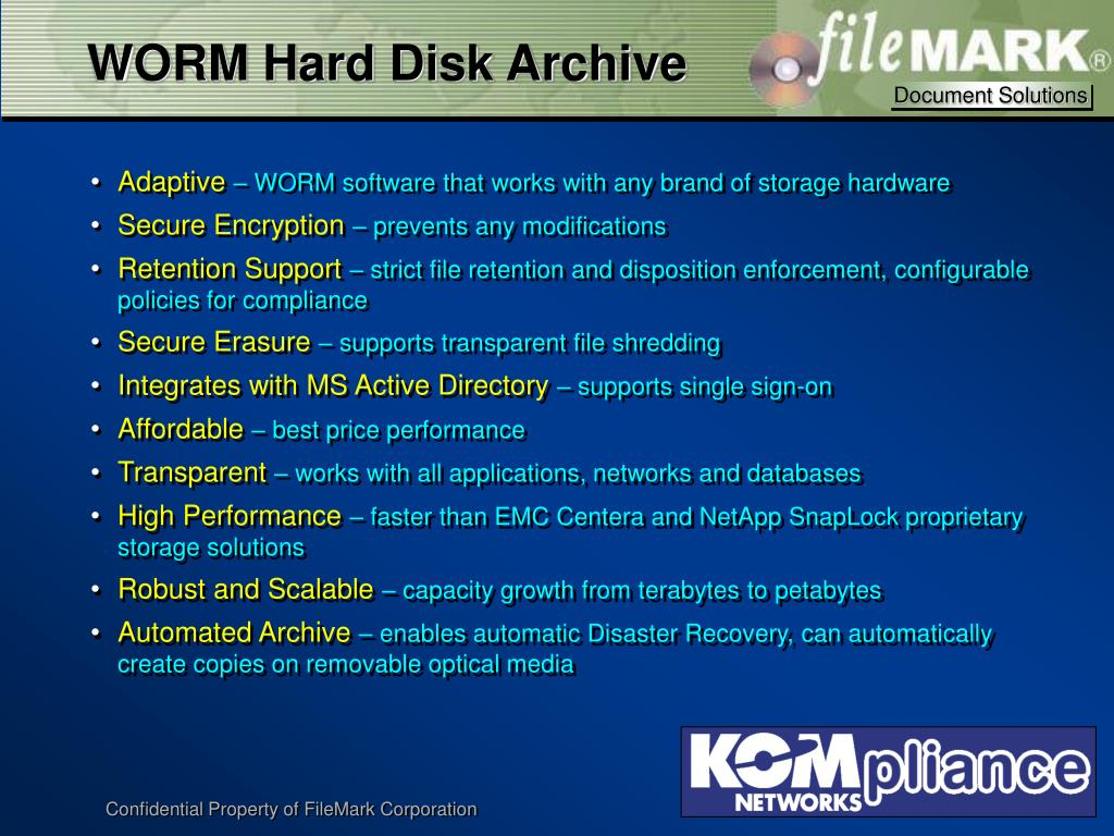 WORM Hard Disk Archive