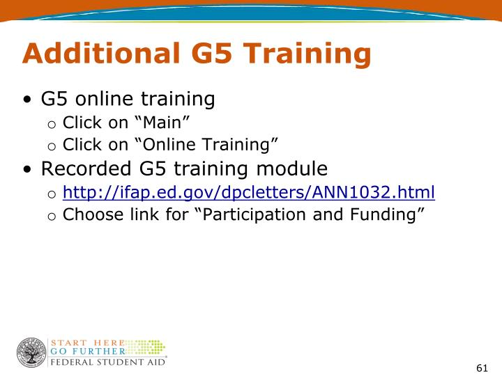 Additional G5 Training