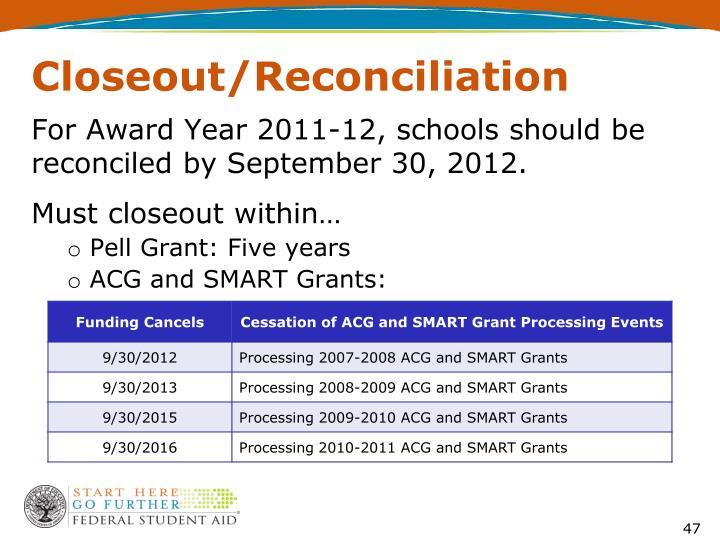 Closeout/Reconciliation