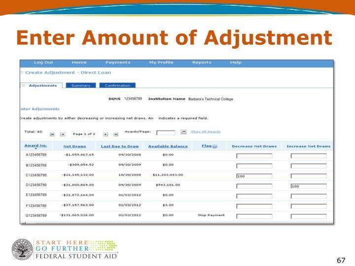 Enter Amount of Adjustment