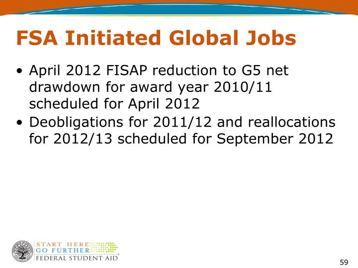 FSA Initiated Global Jobs