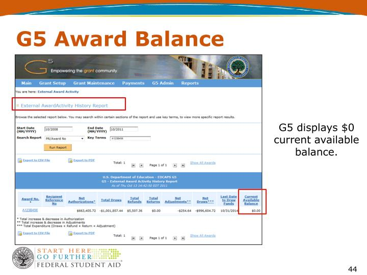 G5 Award Balance