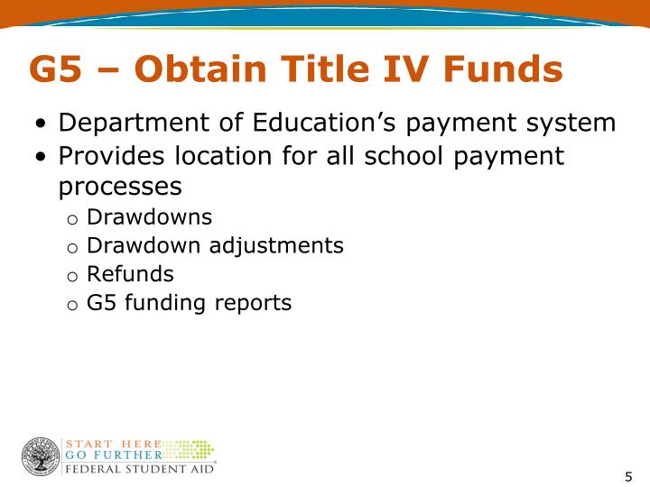 G5 – Obtain Title IV Funds