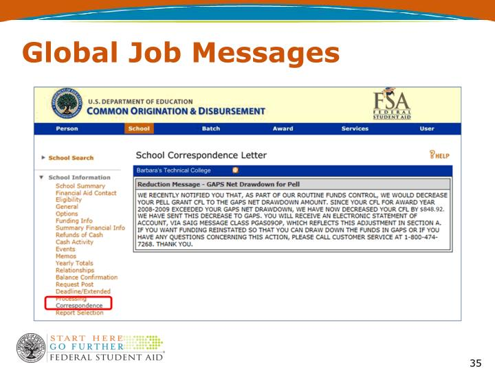 Global Job Messages