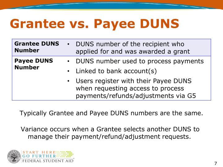 Grantee vs. Payee DUNS