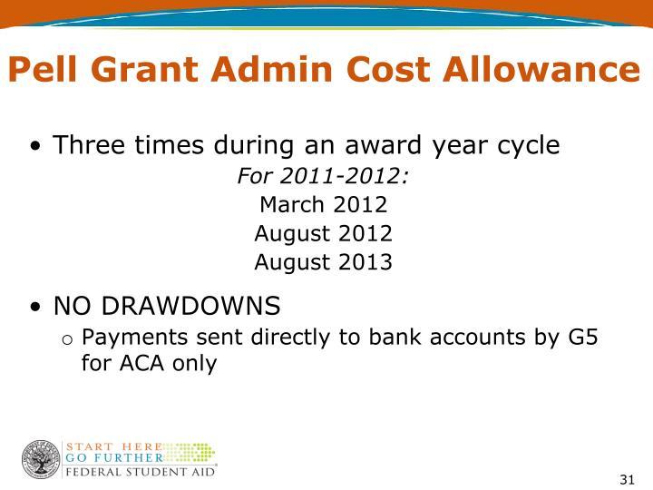 Pell Grant Admin Cost Allowance