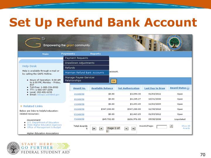 Set Up Refund Bank Account