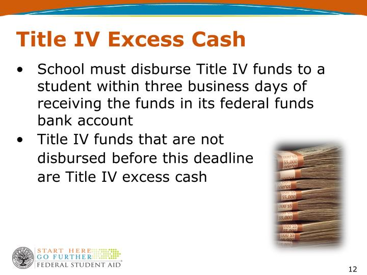 School must disburse Title IV funds to a student within three business days of receiving the funds in its federal funds bank account