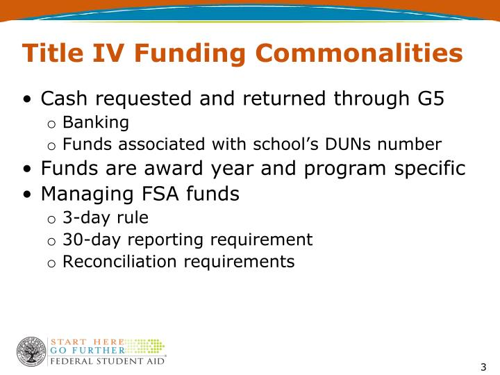 Title iv funding commonalities