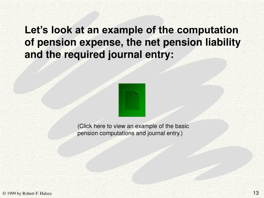 Let's look at an example of the computation of pension expense, the net pension liability and the required journal entry: