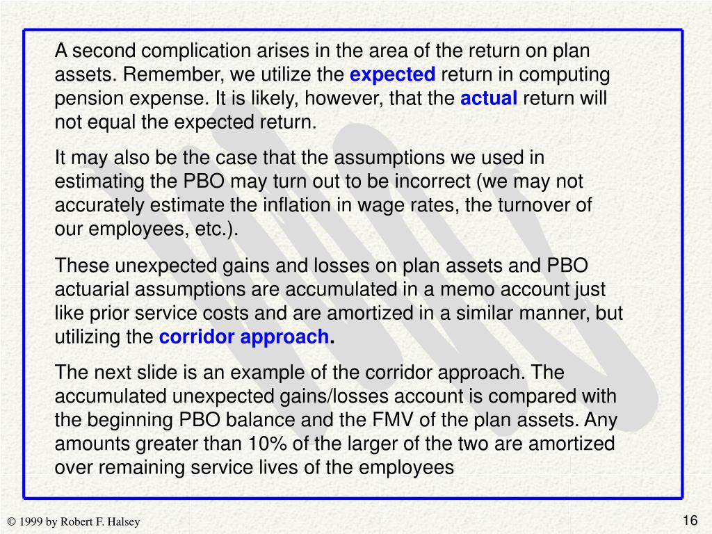 A second complication arises in the area of the return on plan assets. Remember, we utilize the