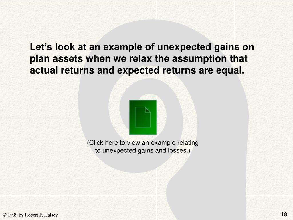 Let's look at an example of unexpected gains on plan assets when we relax the assumption that actual returns and expected returns are equal.