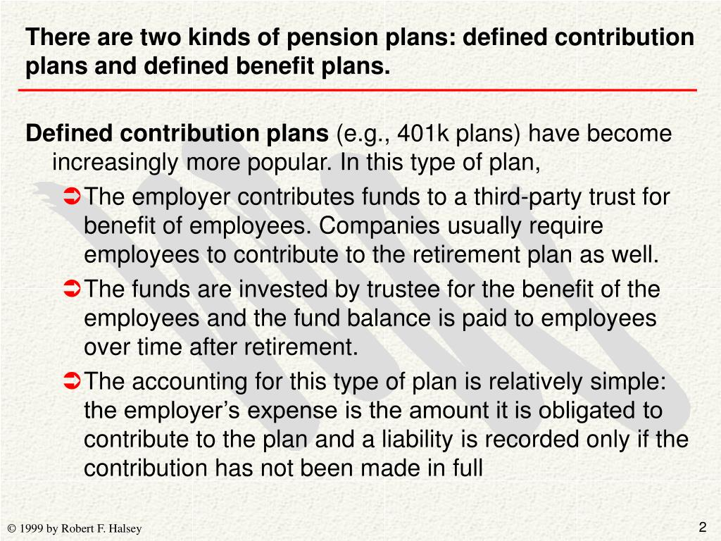 There are two kinds of pension plans: defined contribution