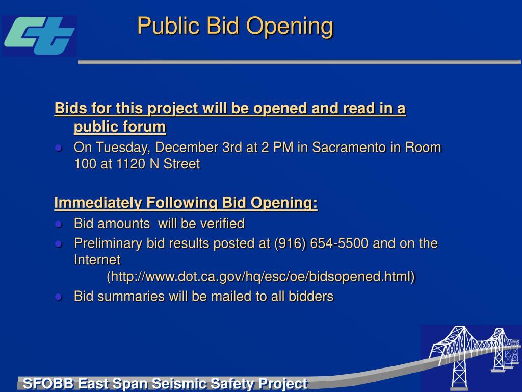 Public Bid Opening
