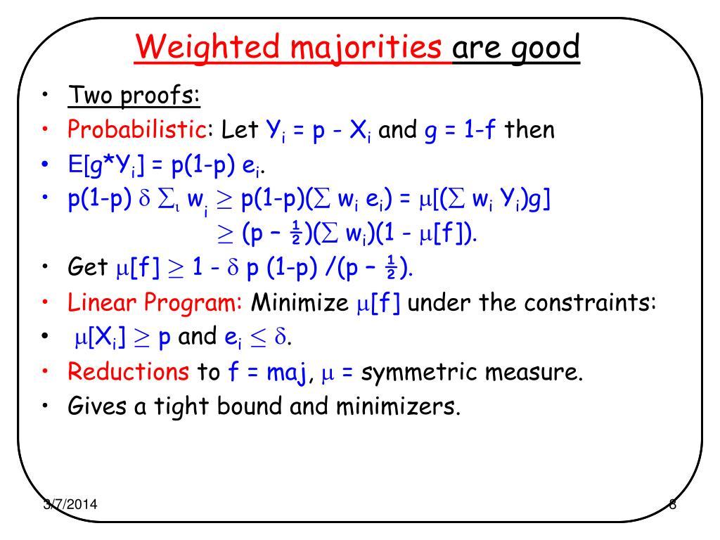 Weighted majorities