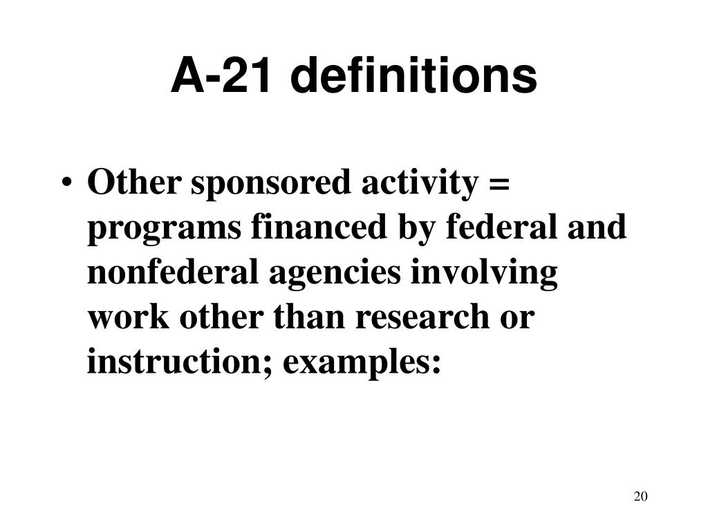 A-21 definitions
