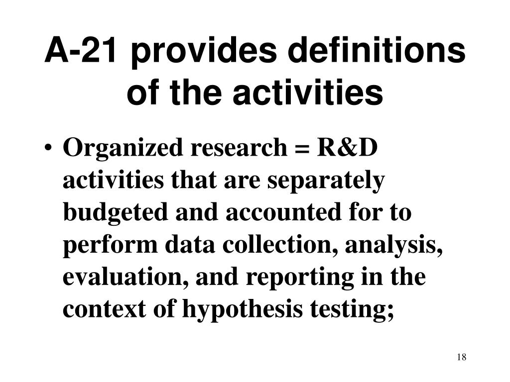 A-21 provides definitions of the activities