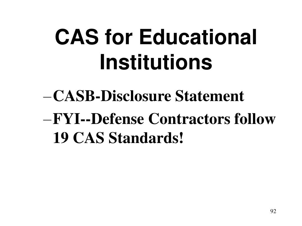 CAS for Educational Institutions