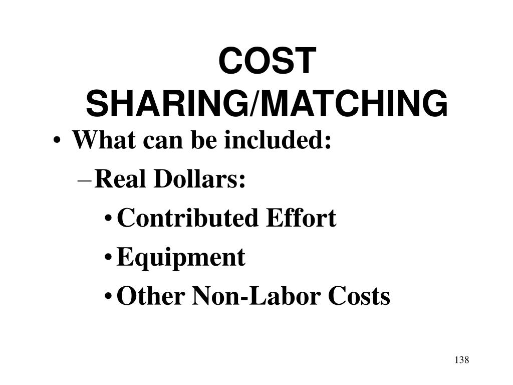 COST SHARING/MATCHING