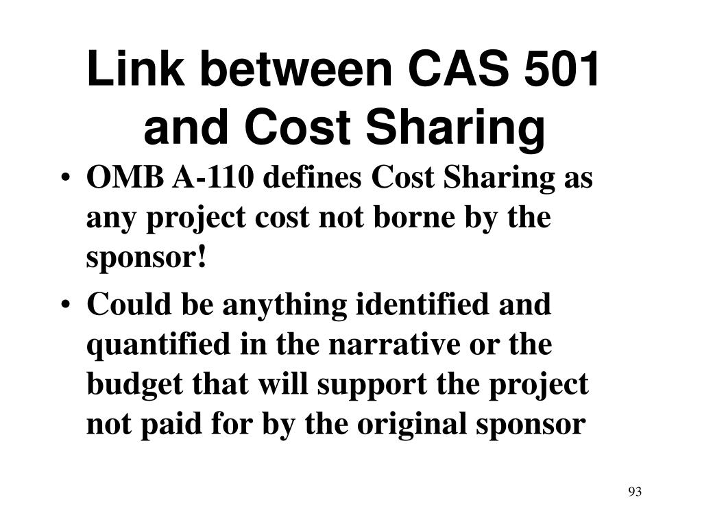 Link between CAS 501 and Cost Sharing