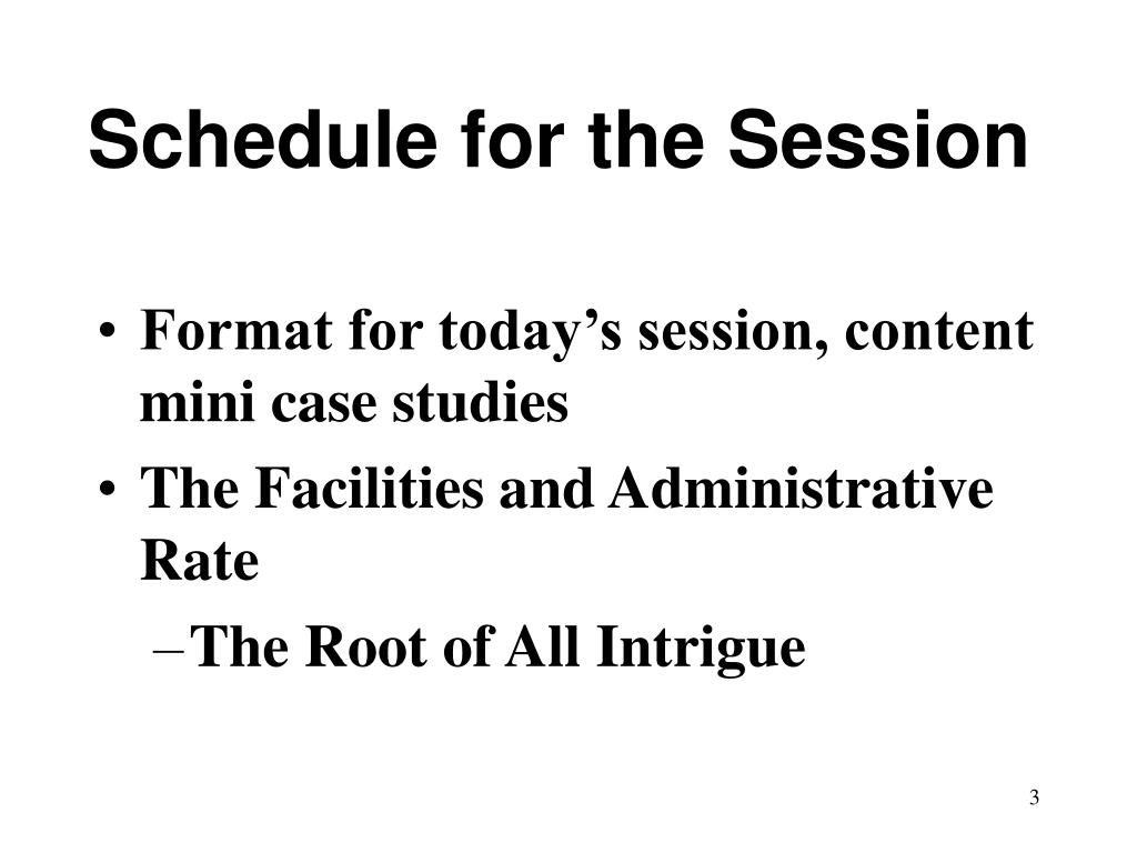 Schedule for the Session