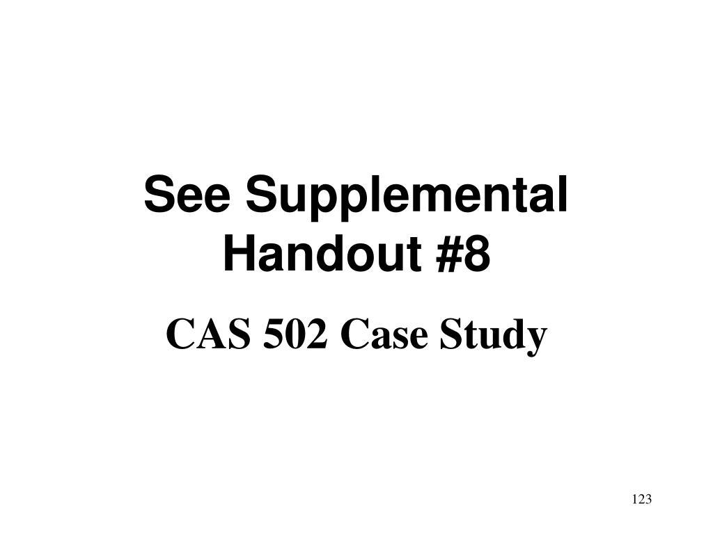 See Supplemental Handout #8