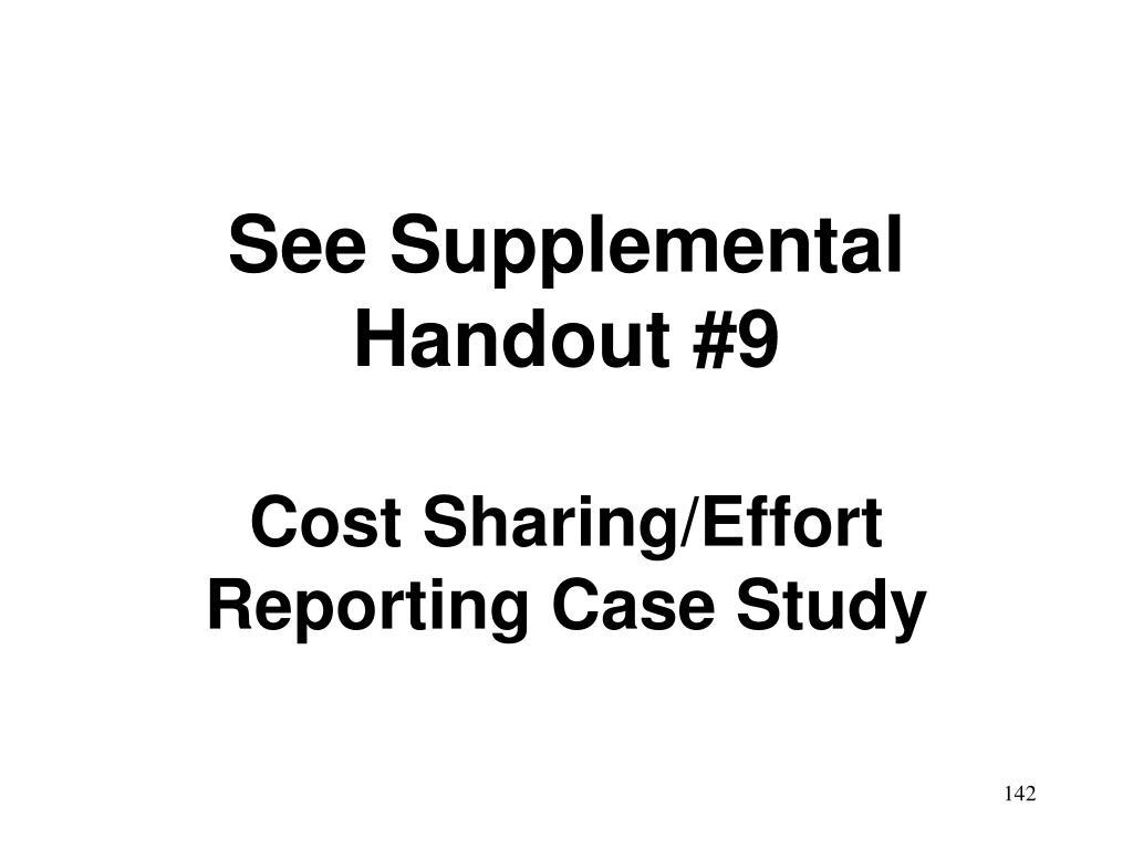 See Supplemental Handout #9