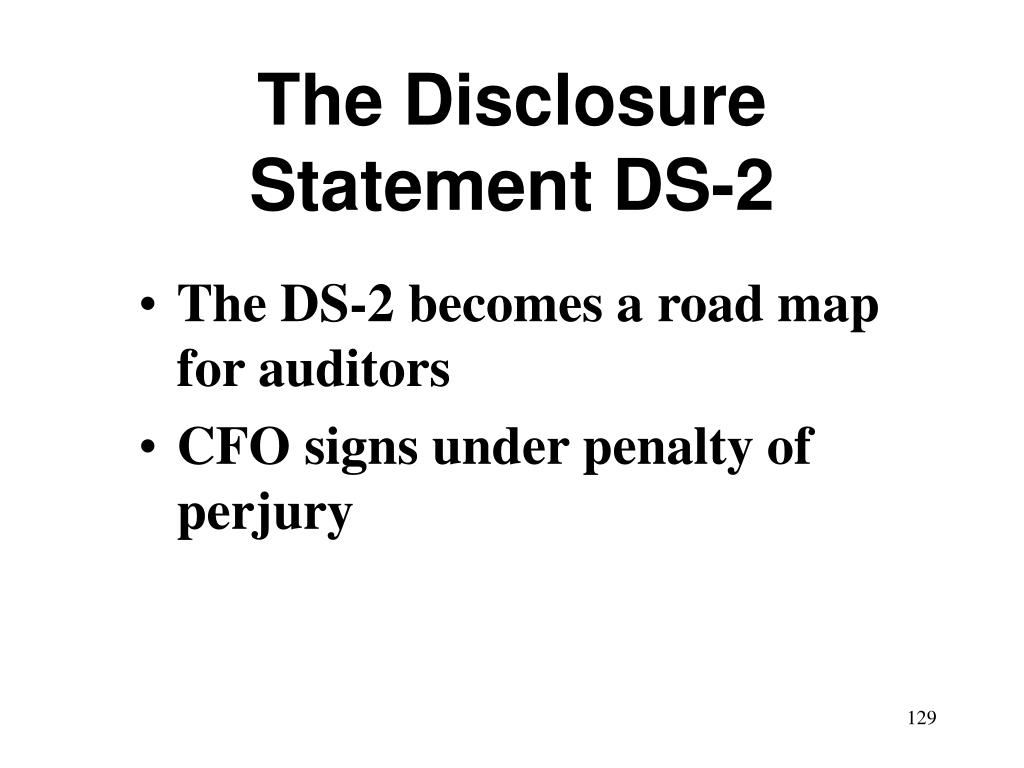 The Disclosure Statement DS-2