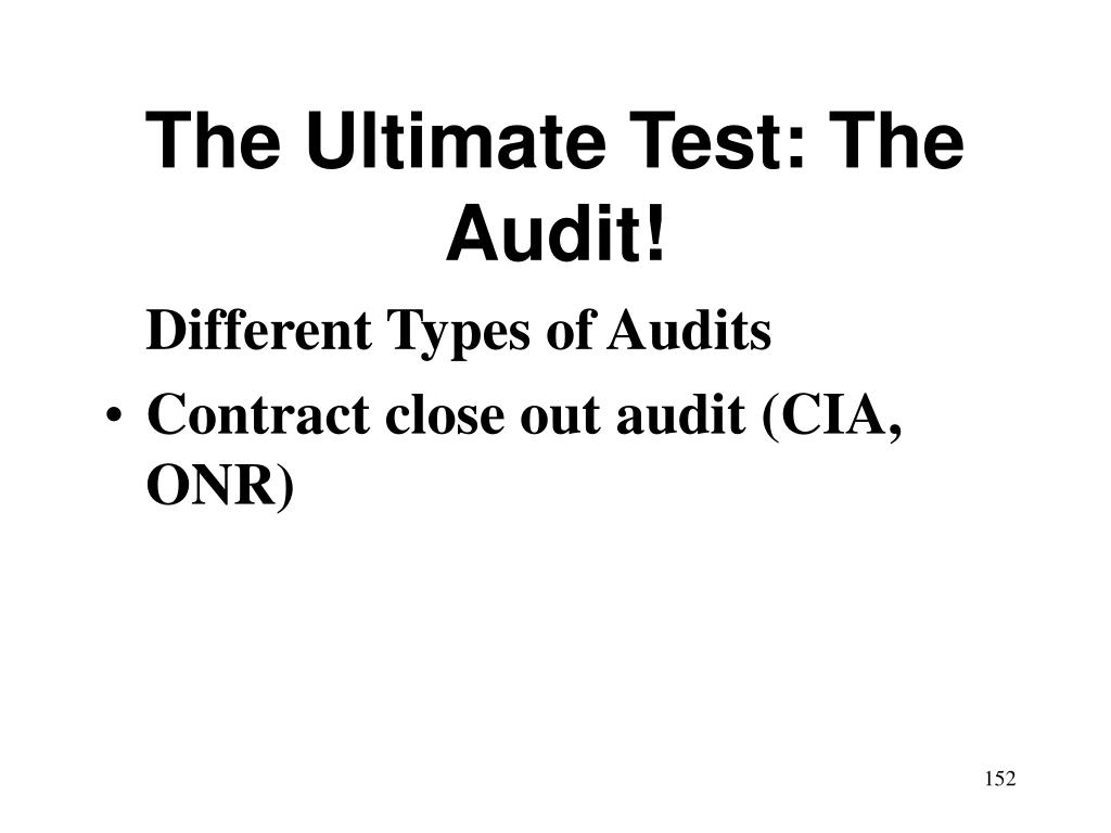 The Ultimate Test: The Audit!