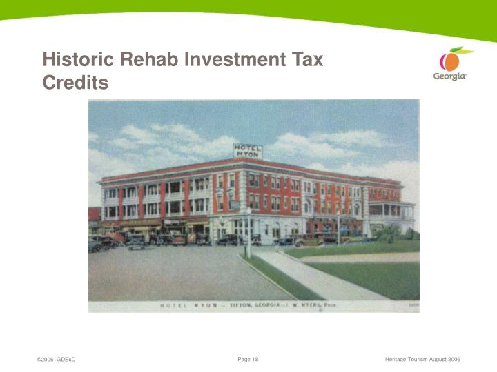 Historic Rehab Investment Tax Credits