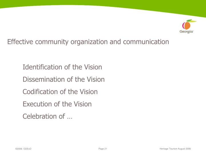 Effective community organization and communication