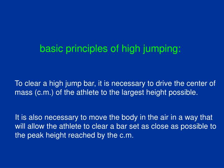 basic principles of high jumping: