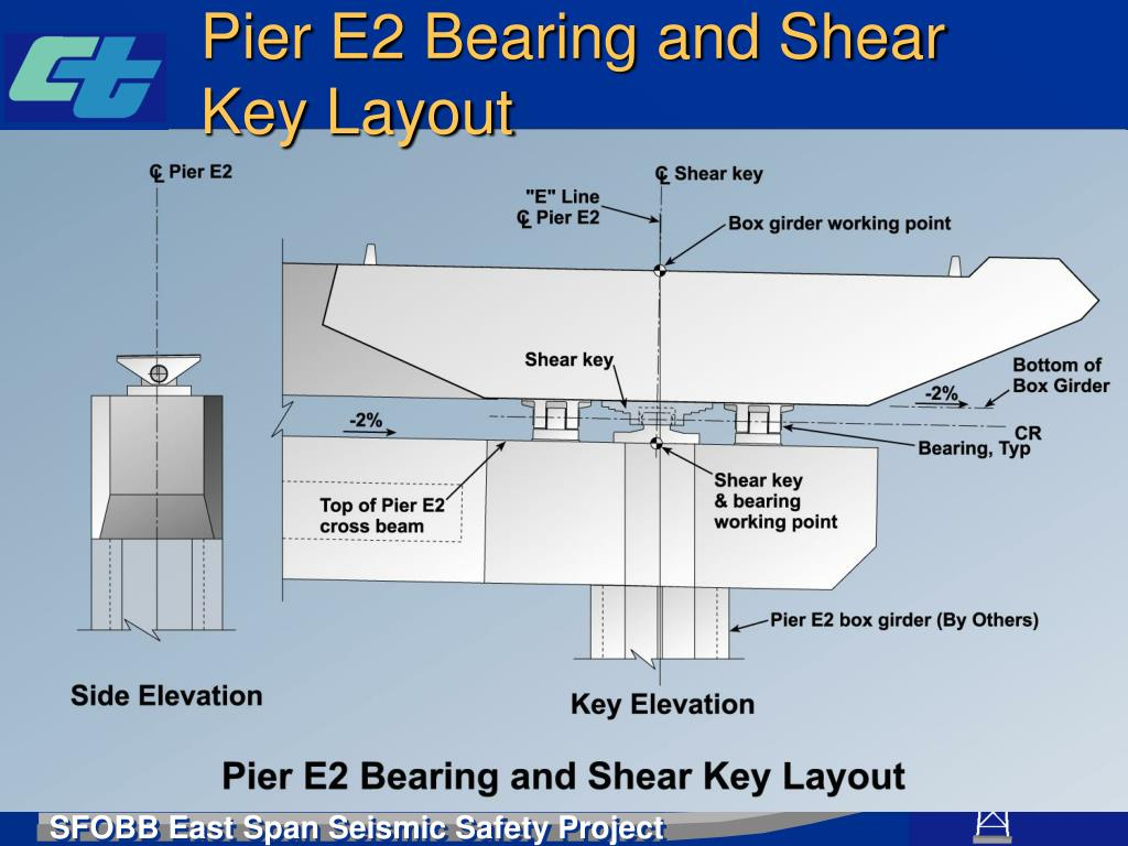 Pier E2 Bearing and Shear Key Layout