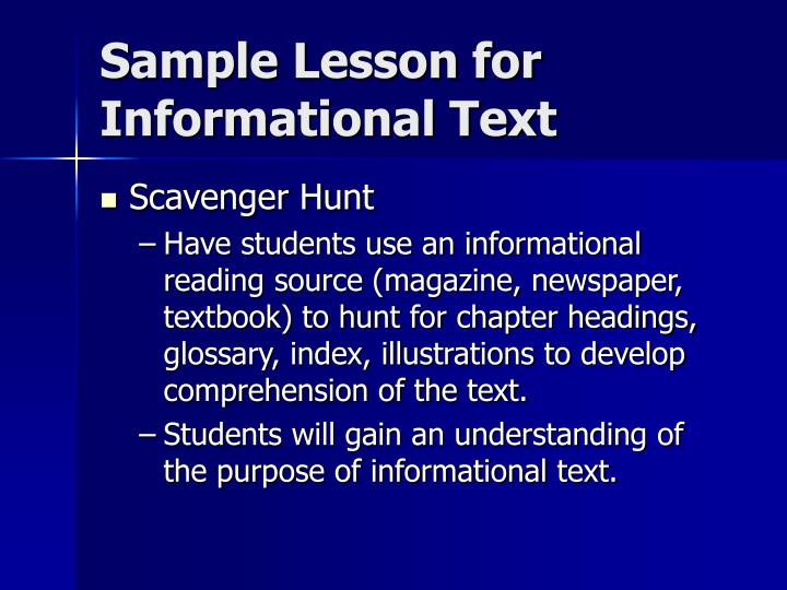 Sample Lesson for Informational Text