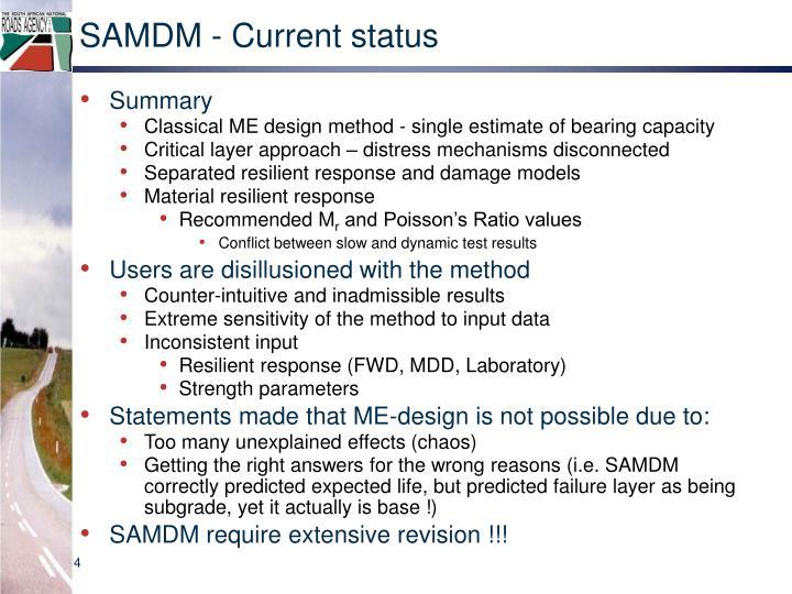 SAMDM - Current status