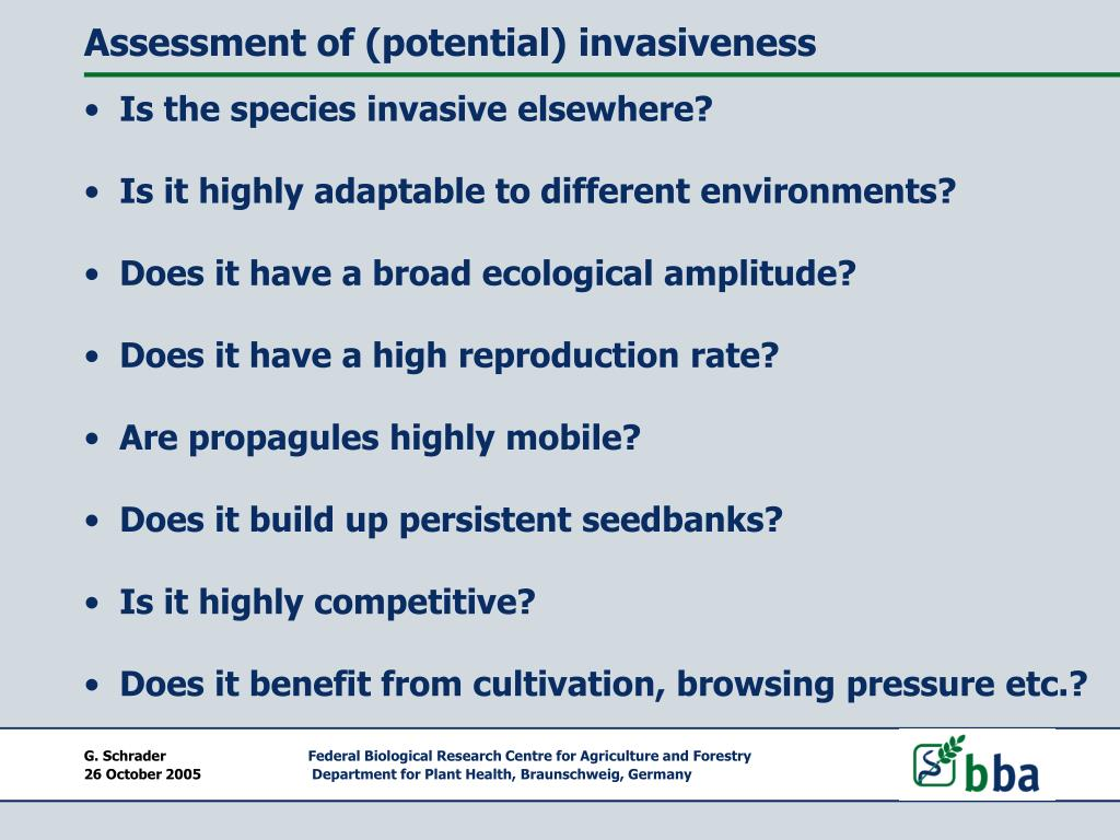 Assessment of (potential) invasiveness
