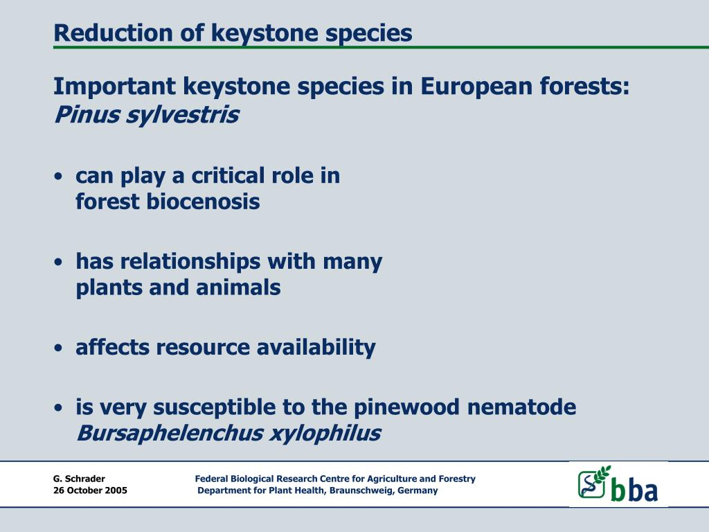 Reduction of keystone species