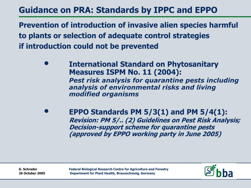 Guidance on PRA: Standards by IPPC and EPPO