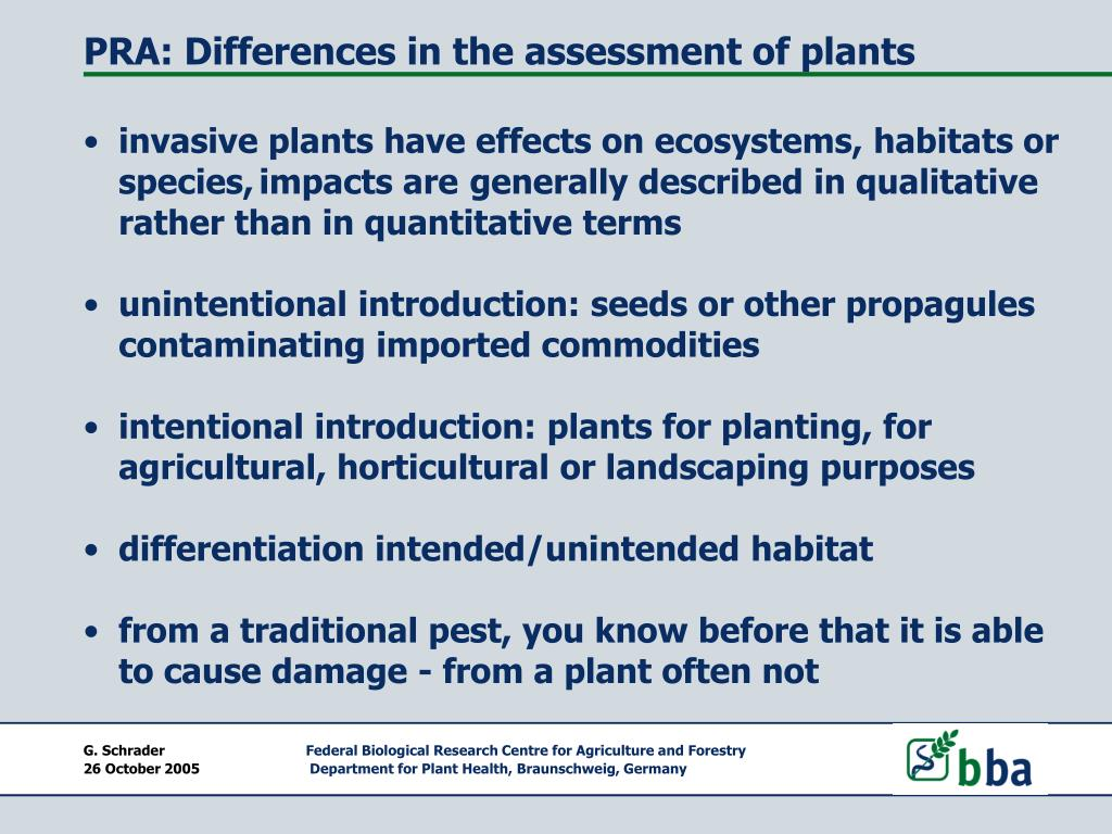 PRA: Differences in the assessment of plants