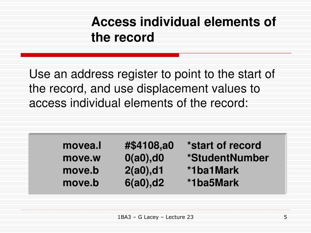 Access individual elements of the record