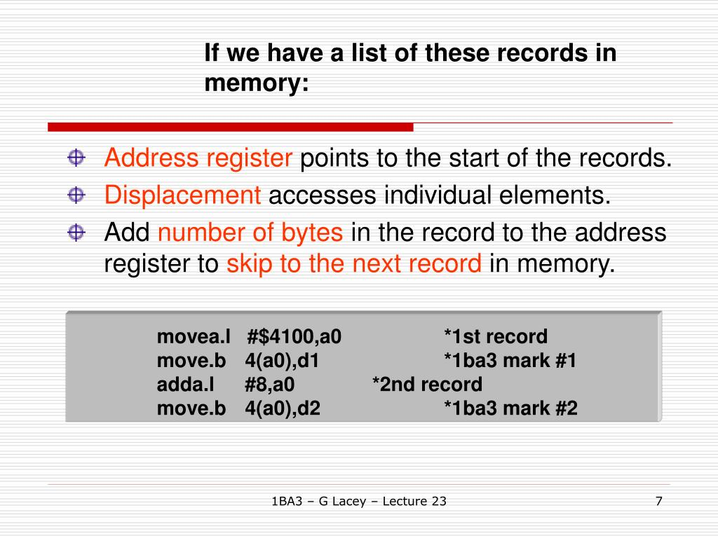 If we have a list of these records in memory: