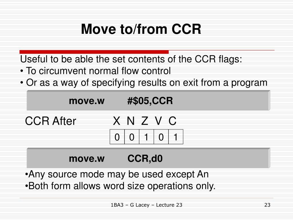 CCR AfterX  N  Z  V  C
