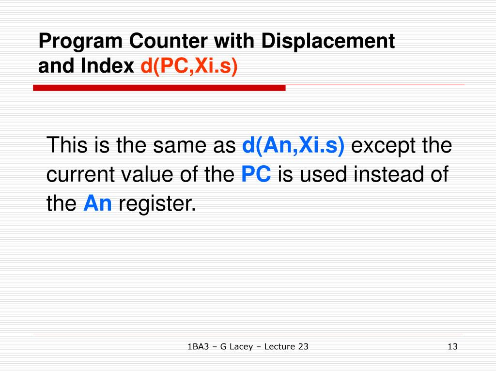 Program Counter with Displacement and Index