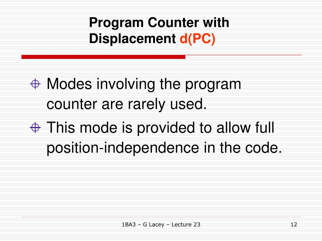 Program Counter with Displacement
