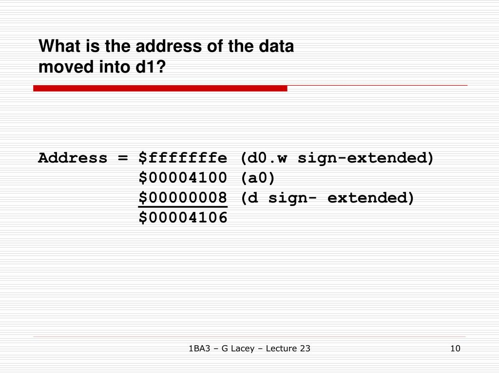 What is the address of the data moved into d1?