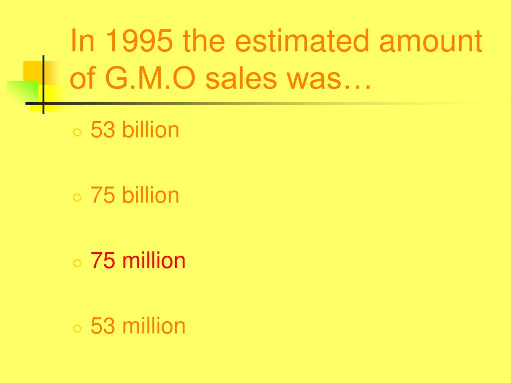 In 1995 the estimated amount of G.M.O sales was…