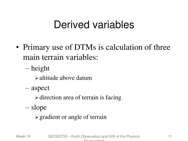 Derived variables