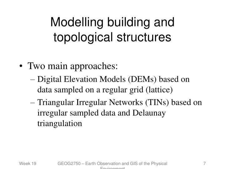 Modelling building and topological structures