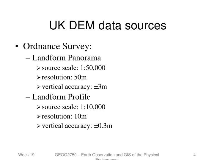 UK DEM data sources