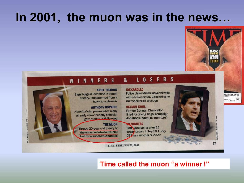 In 2001,  the muon was in the news…